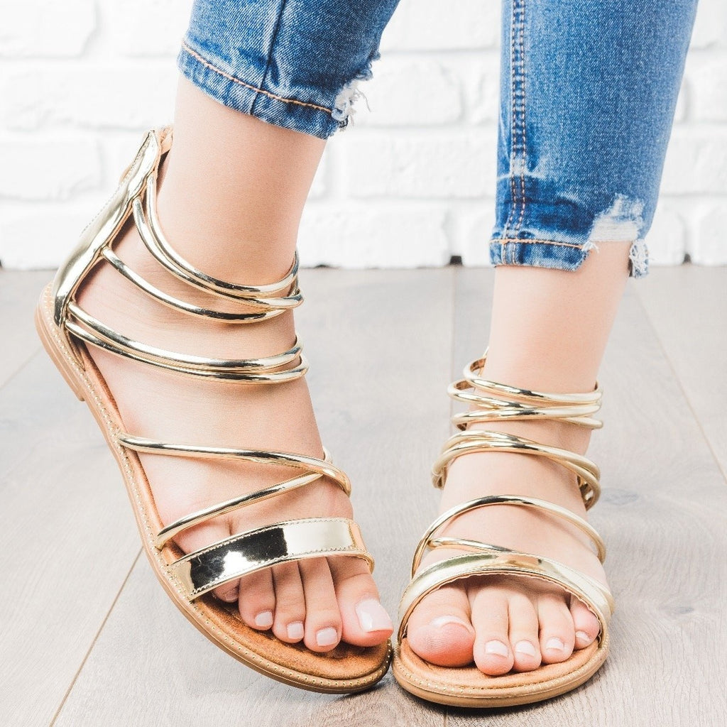 Womens Metallic Strappy Sandals - Forever - Gold / 5