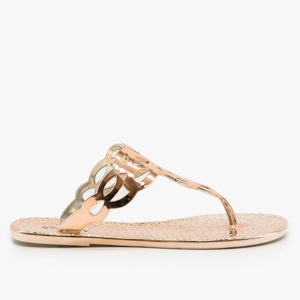 Womens Metallic Thong-Toe Sandals - Qupid Shoes - Rose Gold / 5