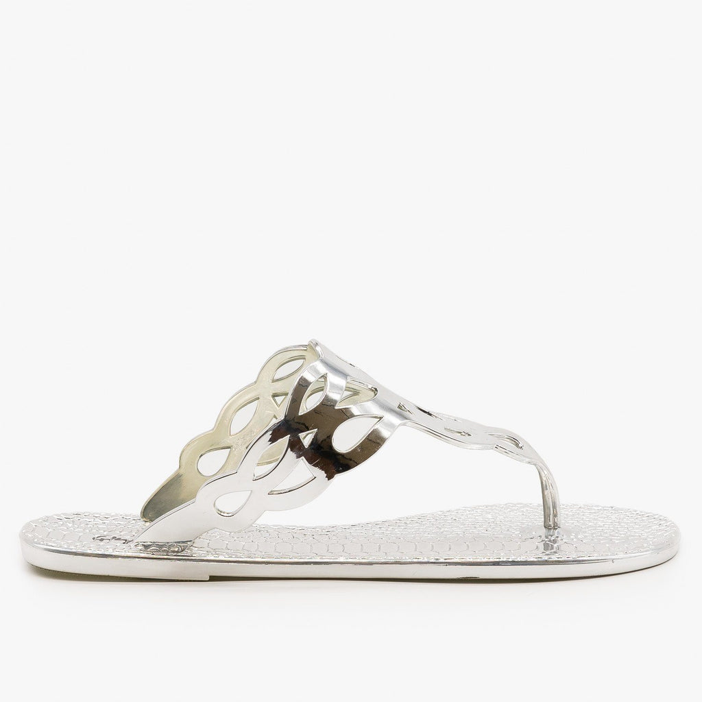 Womens Metallic Thong-Toe Sandals - Qupid Shoes - Silver / 5