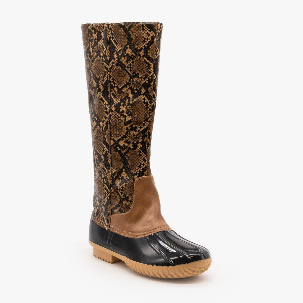 Womens Mid Calf Animal Print Duck Boots - Mata - Light Snake / 5