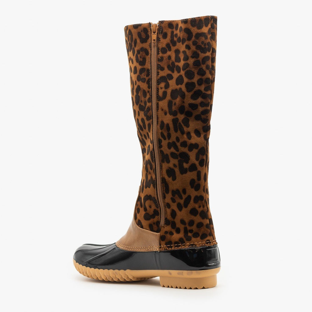 Womens Mid Calf Animal Print Duck Boots - Mata