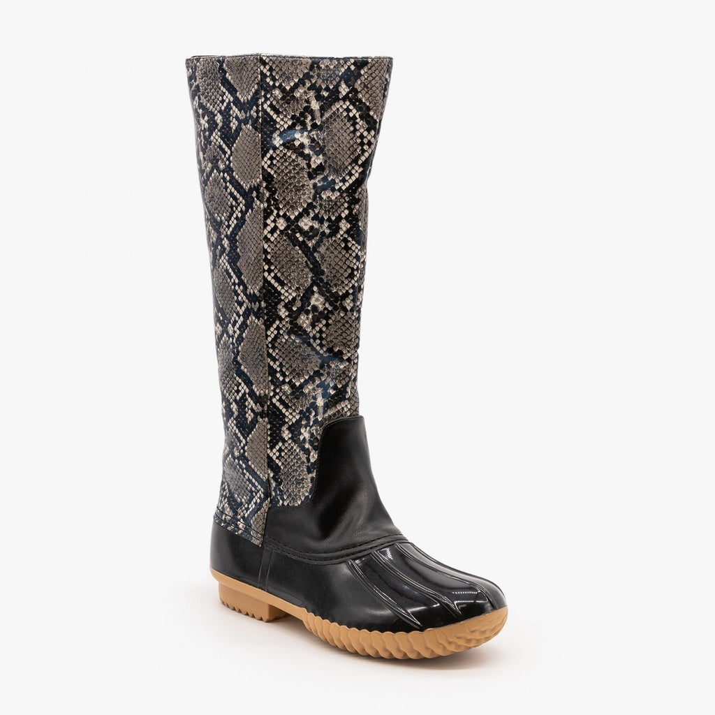 Womens Mid Calf Animal Print Duck Boots - Mata - Black Snake / 5