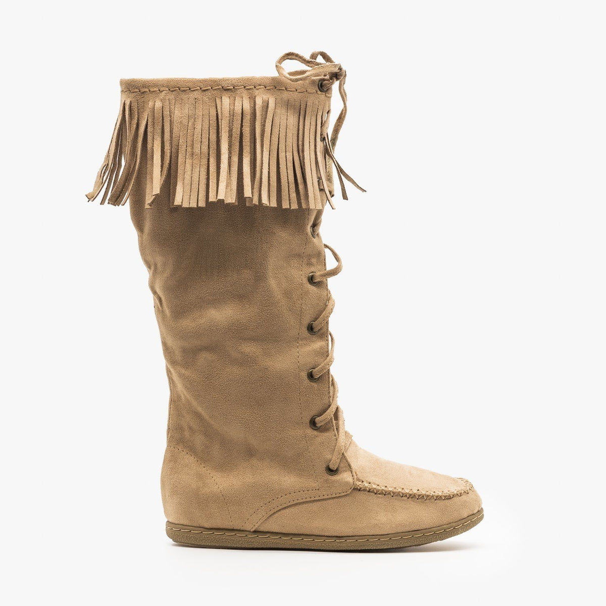 3322718d6b8 Mid Calf Fringe Moccasin Boots