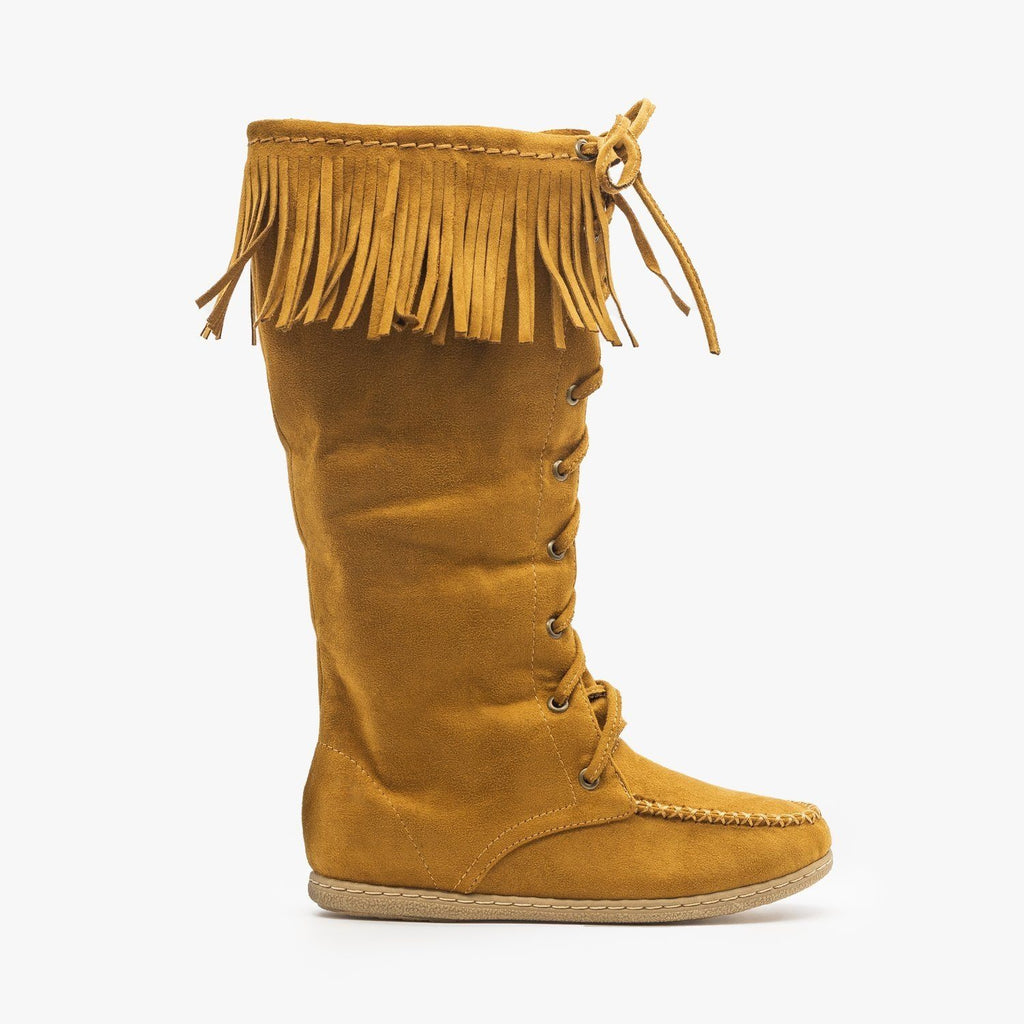 Womens Mid Calf Fringe Moccasin Boots - Soda Shoes - British Tan / 5