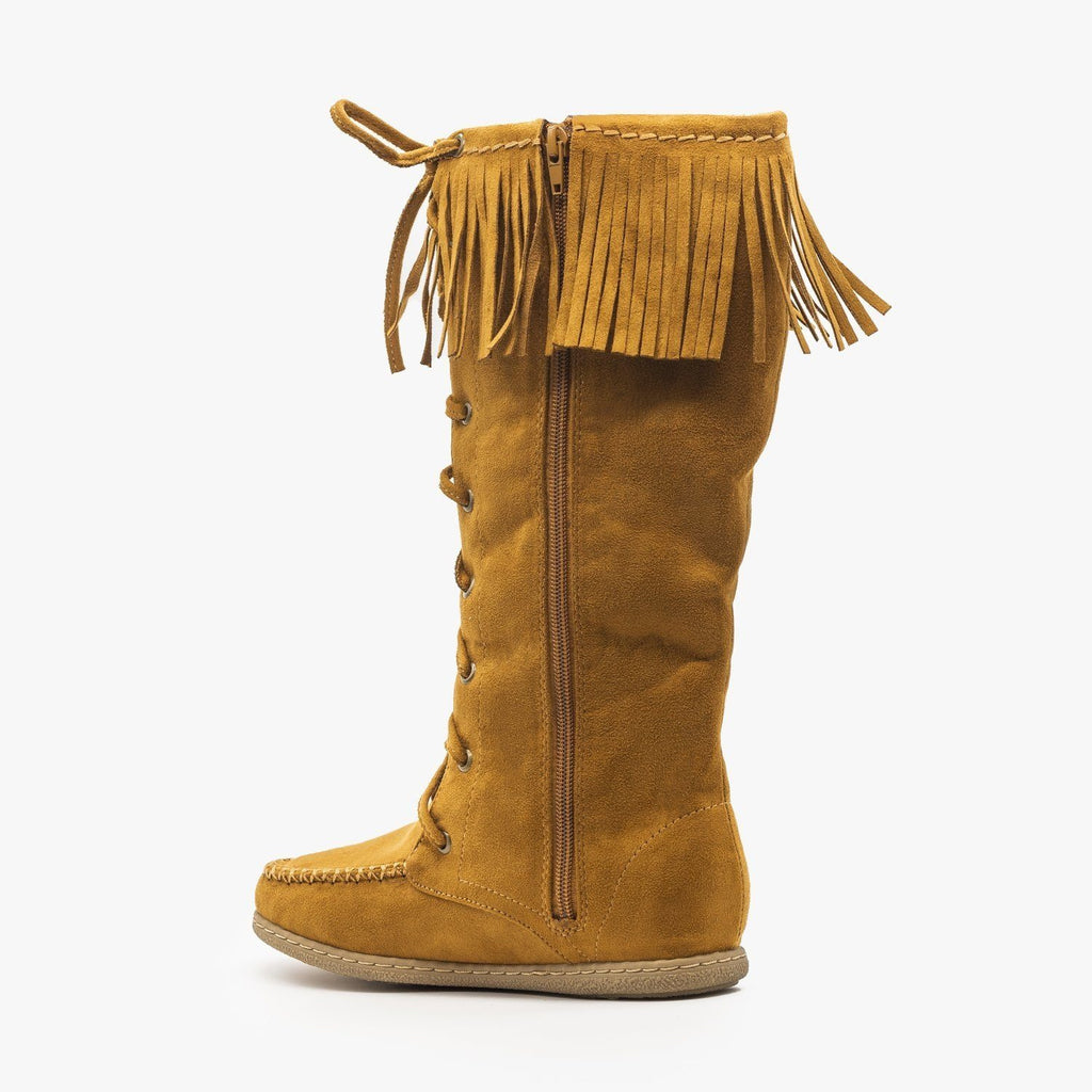 Womens Mid Calf Fringe Moccasin Boots - Soda Shoes