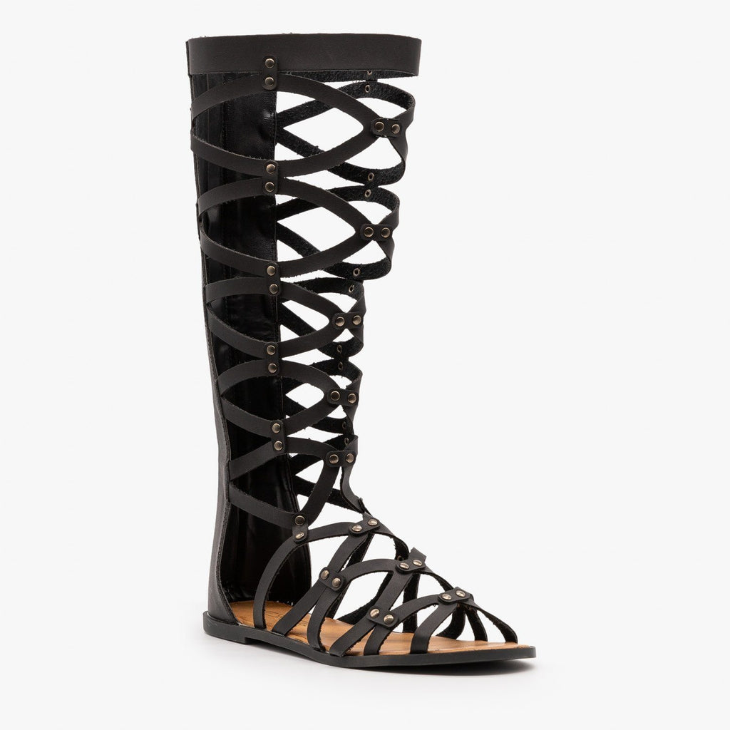 Womens Mid Calf Gladiator Sandals - Yoki - Black / 5