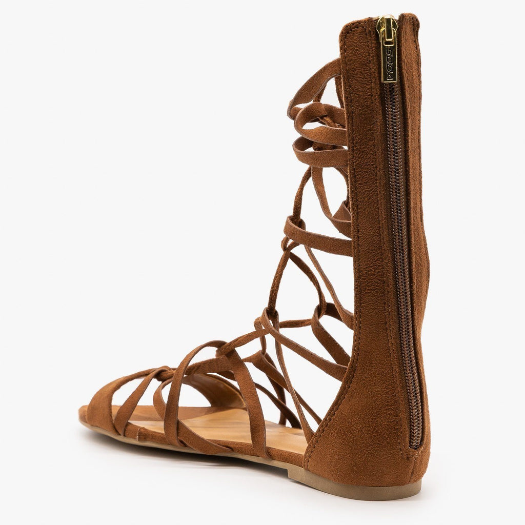 Womens Mid Calf Lace-Up Gladiator Sandals - Soda Shoes