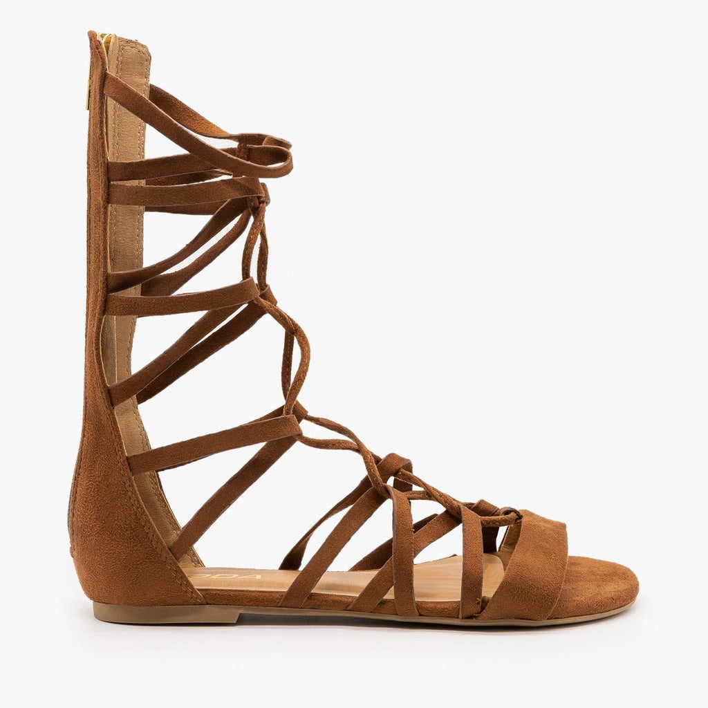 Womens Mid Calf Lace-Up Gladiator Sandals - Soda Shoes - Cognac / 5
