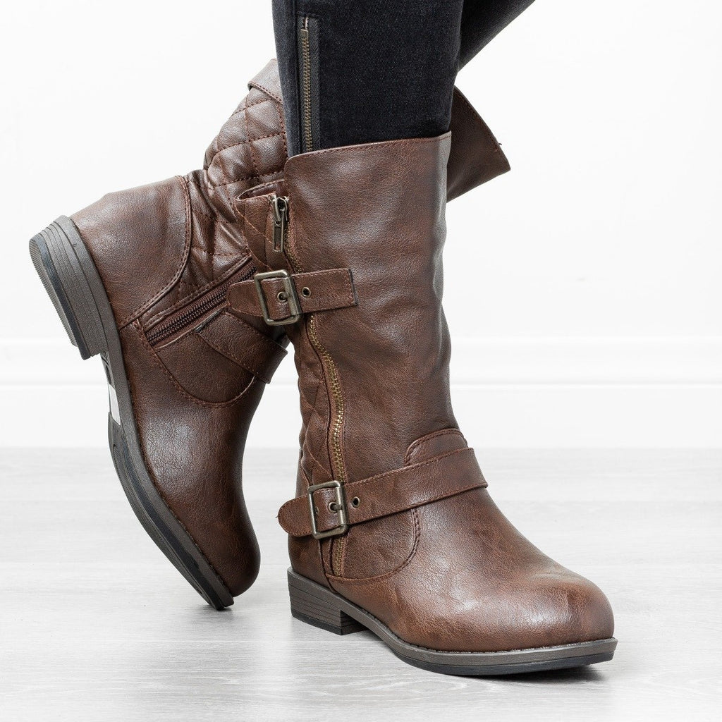 Mid Calf Quilted Riding Boots - Glaze