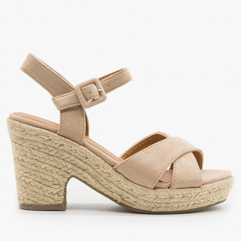 Womens Mini Heel Espadrille Sandals - Bella Marie - Taupe / 5