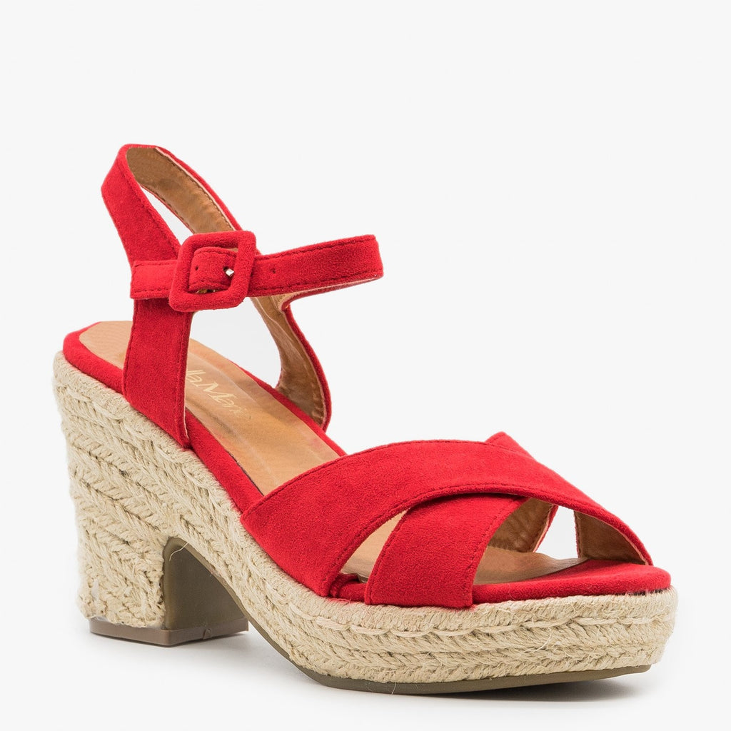 Womens Mini Heel Espadrille Sandals - Bella Marie