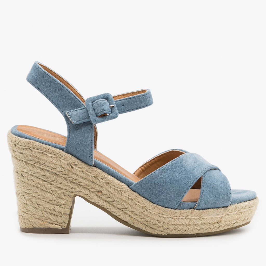 Womens Mini Heel Espadrille Sandals - Bella Marie - Light Blue / 5