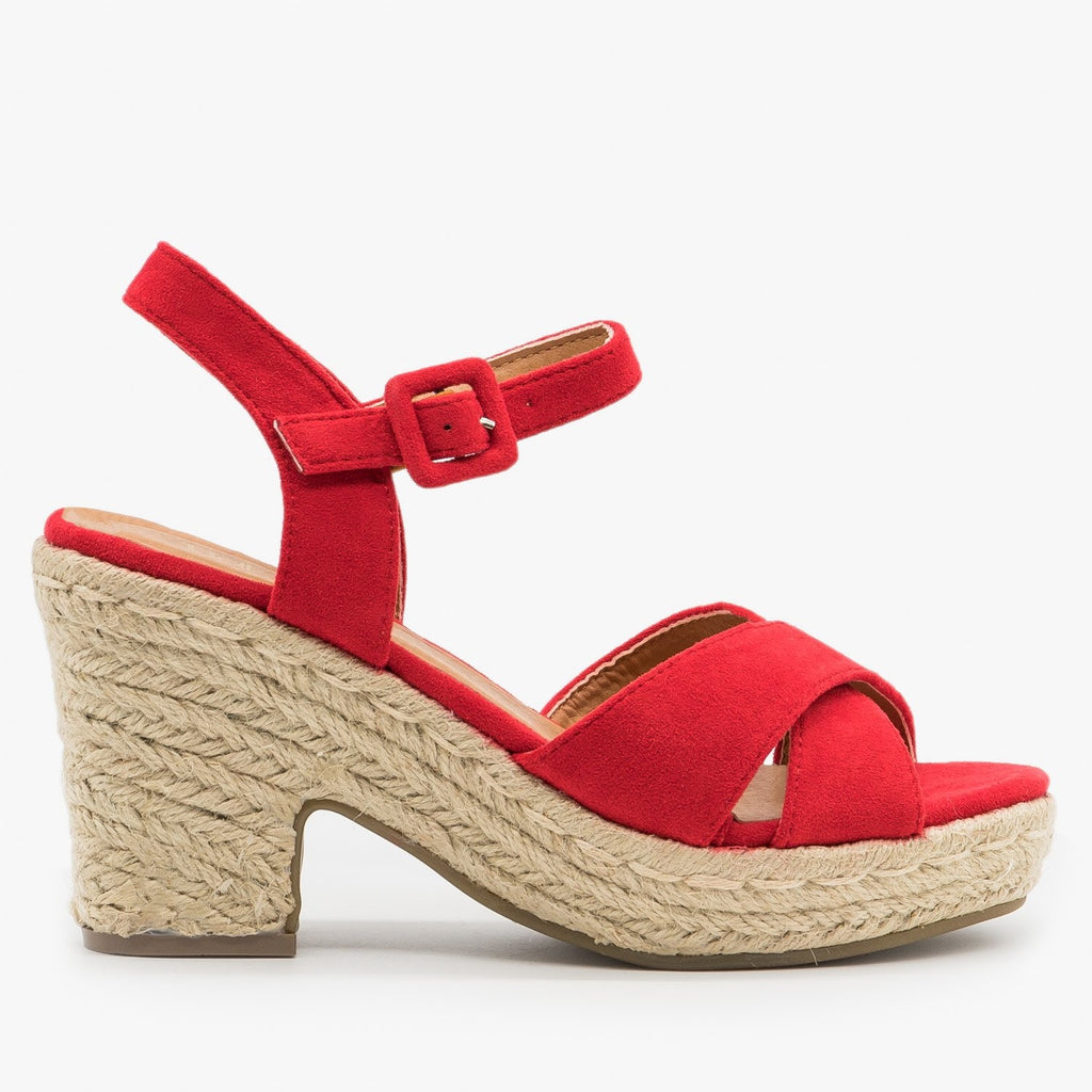 Womens Mini Heel Espadrille Sandals - Bella Marie - Red / 5