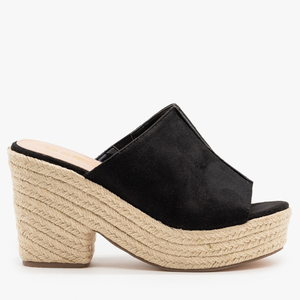 Womens Mini Heel Platform Mules - Mata - Black / 5