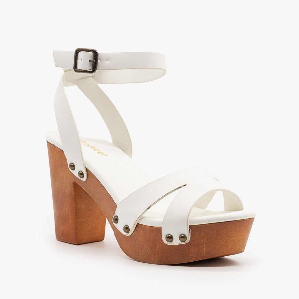 Womens Mini Studded Clog Heels - Bamboo Shoes