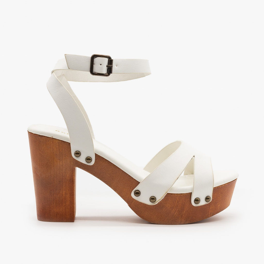 Womens Mini Studded Clog Heels - Bamboo Shoes - White / 5