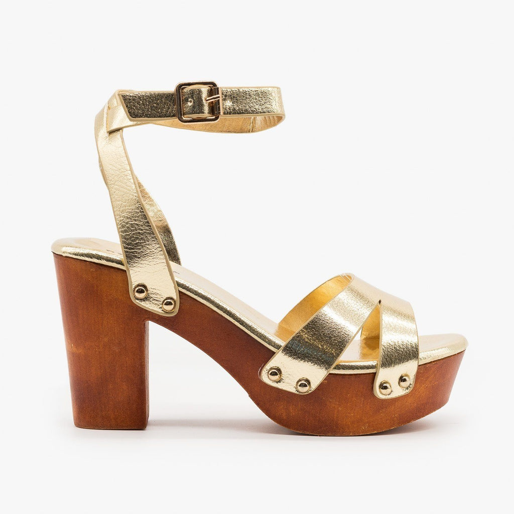 Womens Mini Studded Clog Heels - Bamboo Shoes - Gold / 5