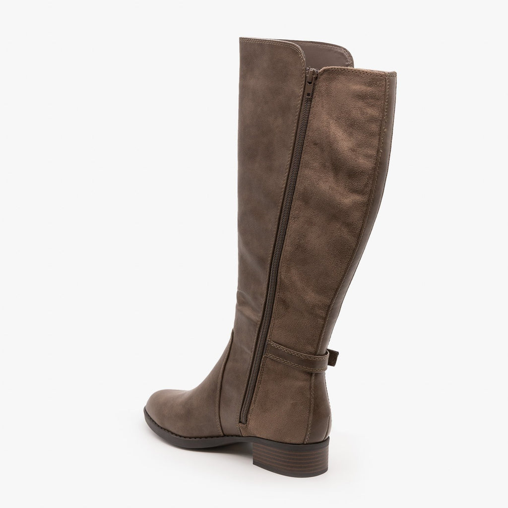 Womens Mixed Material Riding Boots - Soda Shoes