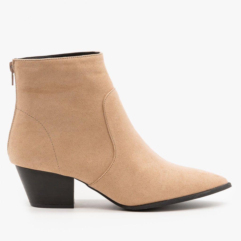 Womens Modern Ankle Booties - Qupid Shoes - Warm Taupe / 5
