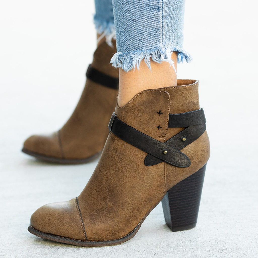 Womens Modern Belt Around Ankle Bootie - Mi.im - Brown / 5