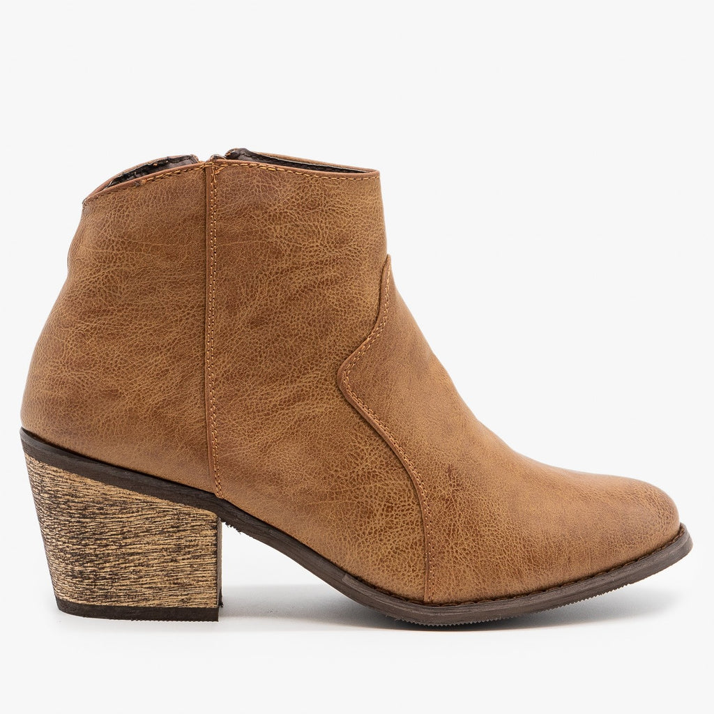 Womens Modern Cowboy Booties - Reneeze Shoes - Camel / 5