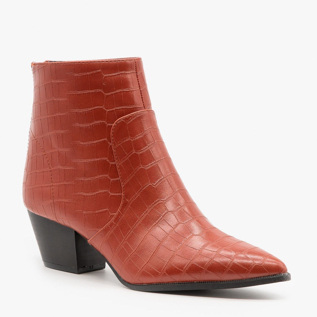 Womens Modern Crocodile Print Booties - Qupid Shoes