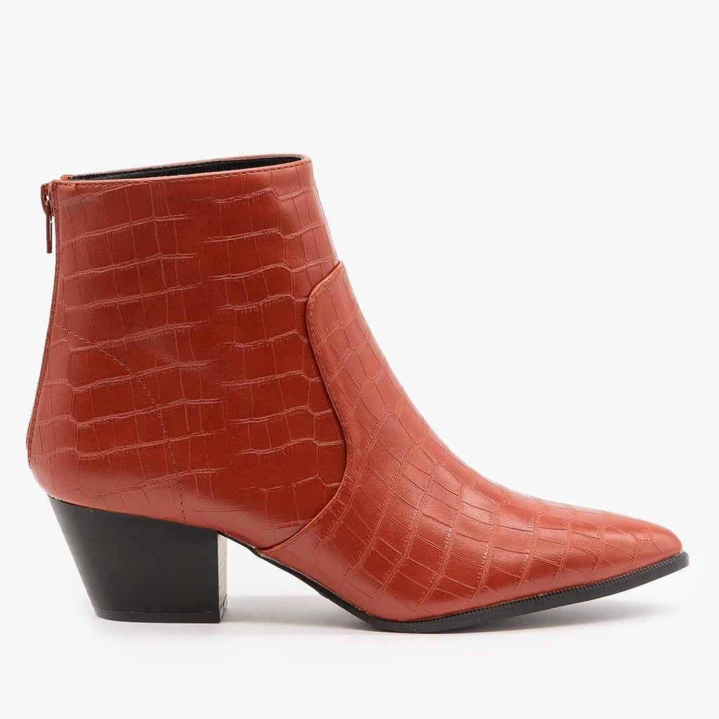 Womens Modern Crocodile Print Booties - Qupid Shoes - Brick / 5