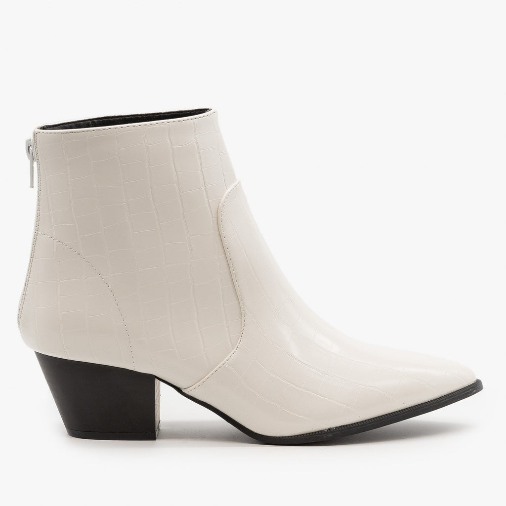 Womens Modern Crocodile Print Booties - Qupid Shoes - White / 5