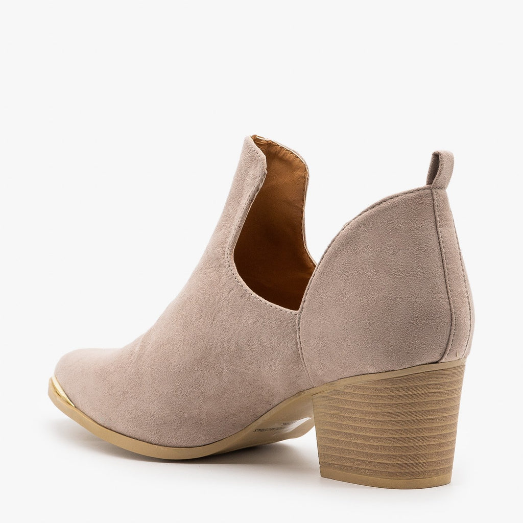Womens Modern Gold Toe Accent Booties - Qupid Shoes
