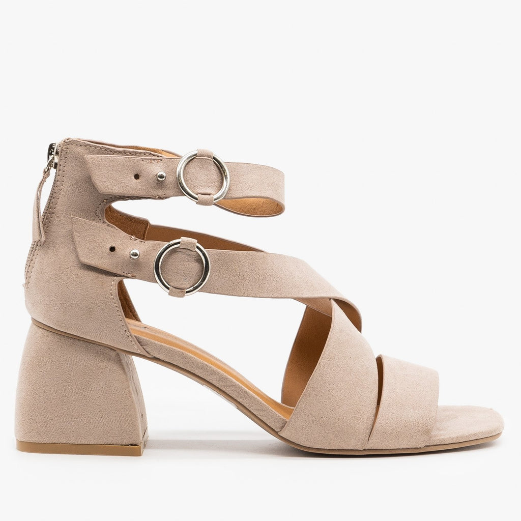 Womens Modern Minimalist Heels - Qupid Shoes - Taupe / 5