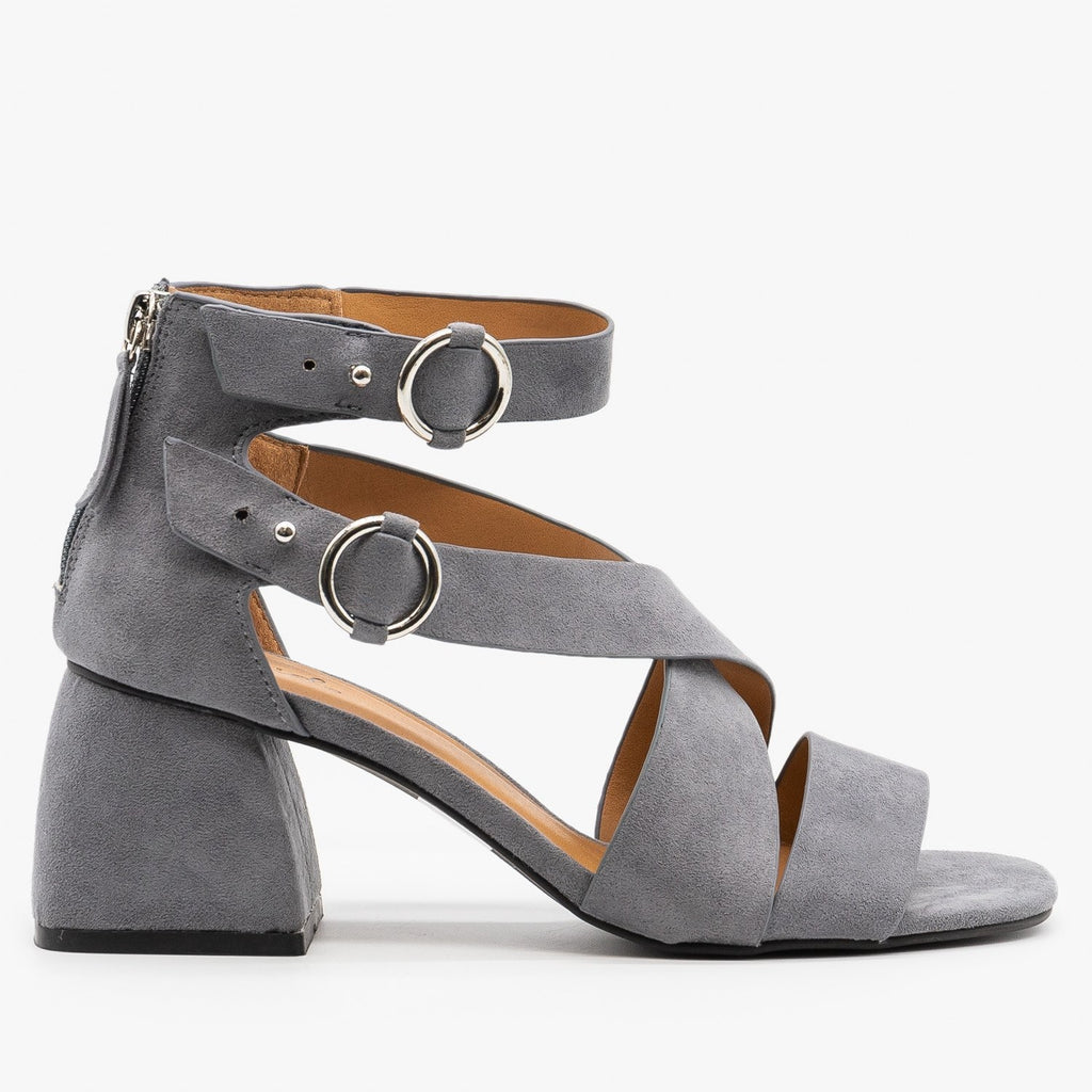 Womens Modern Minimalist Heels - Qupid Shoes - Steel Gray / 5