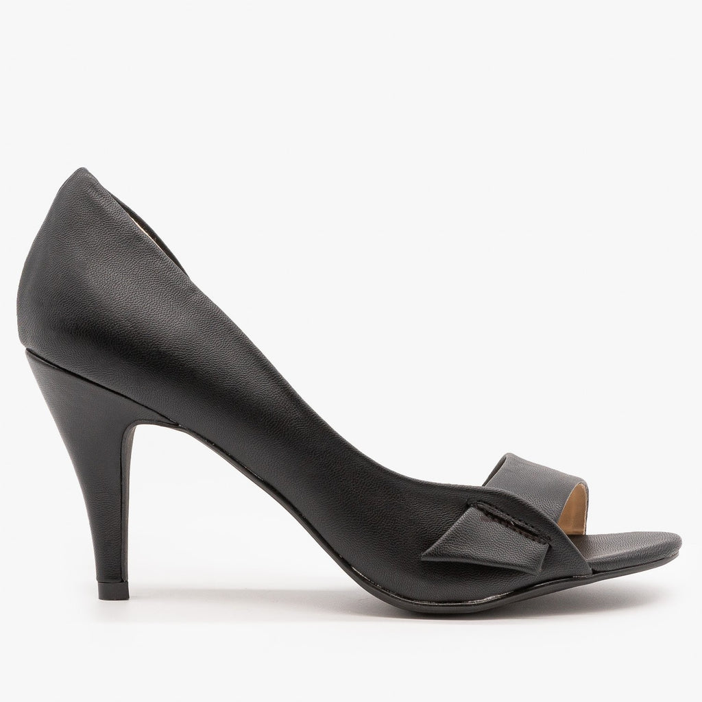 Womens Modern Minimalist Pumps - Bamboo Shoes - Black / 5