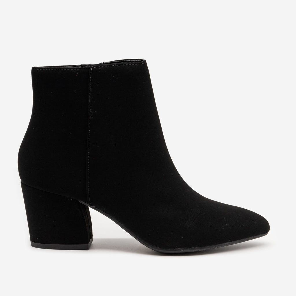 Women's Modern Pointed Bootie - Soda Shoes - Black / 5