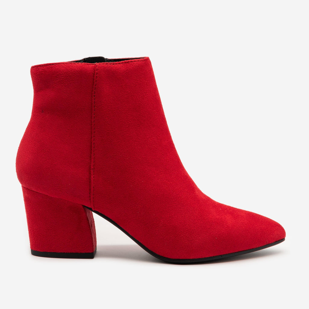 Women's Modern Pointed Bootie - Soda Shoes - Bright Red / 5