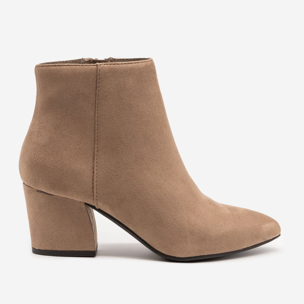 Women's Modern Pointed Bootie - Soda Shoes - Warm Taupe / 5
