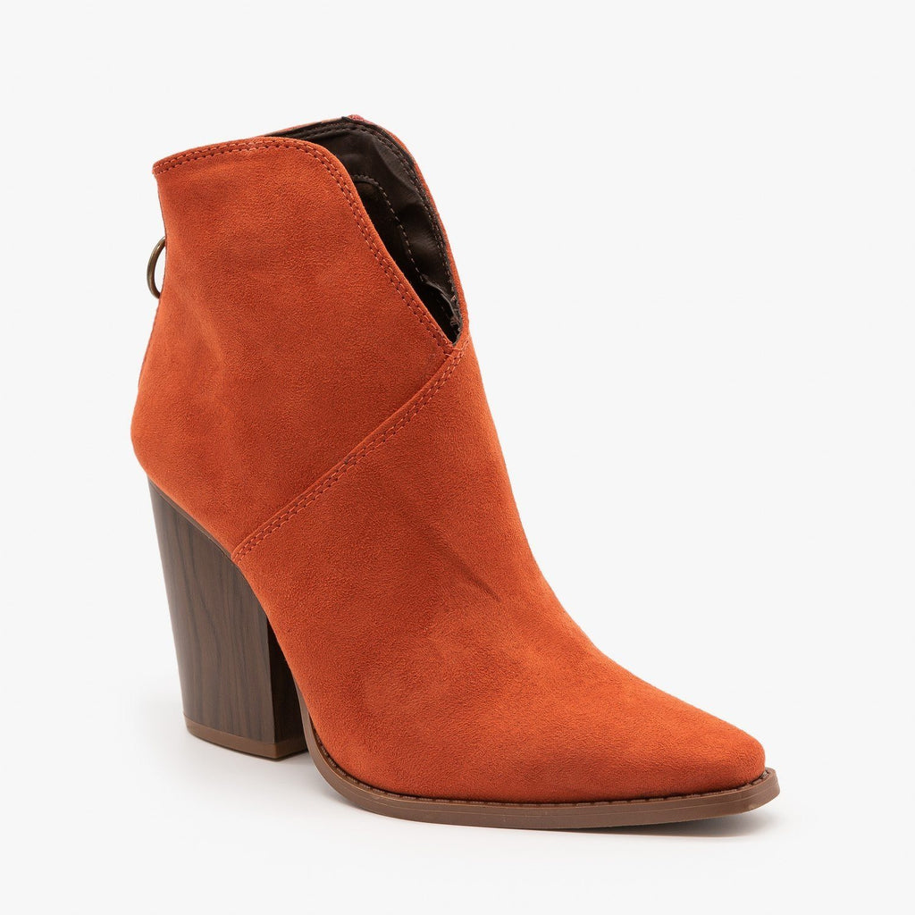 Womens Modern Western Booties - Qupid Shoes - Brick / 5