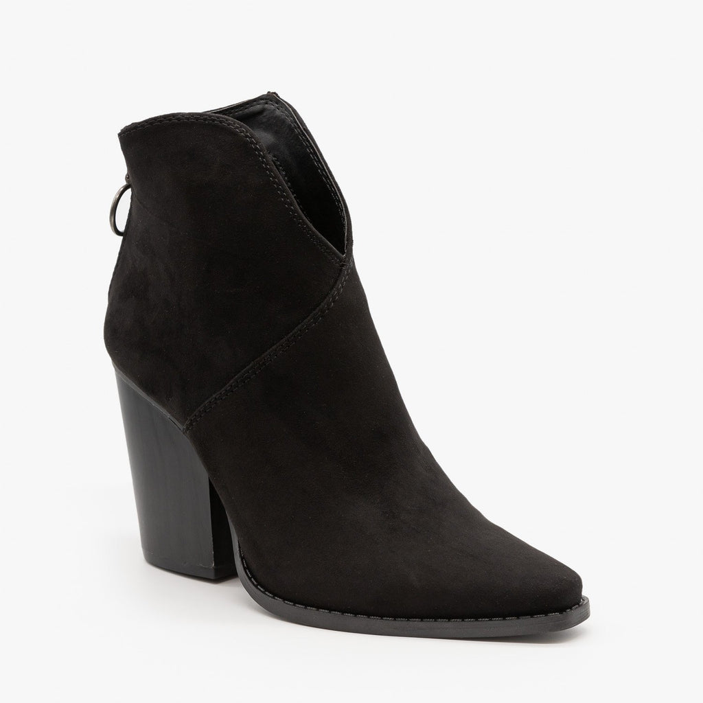 Womens Modern Western Booties - Qupid Shoes - Black / 5