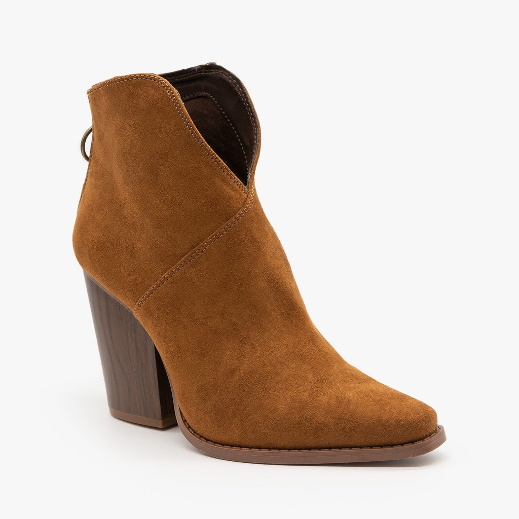 Womens Modern Western Booties - Qupid Shoes - Maple / 5