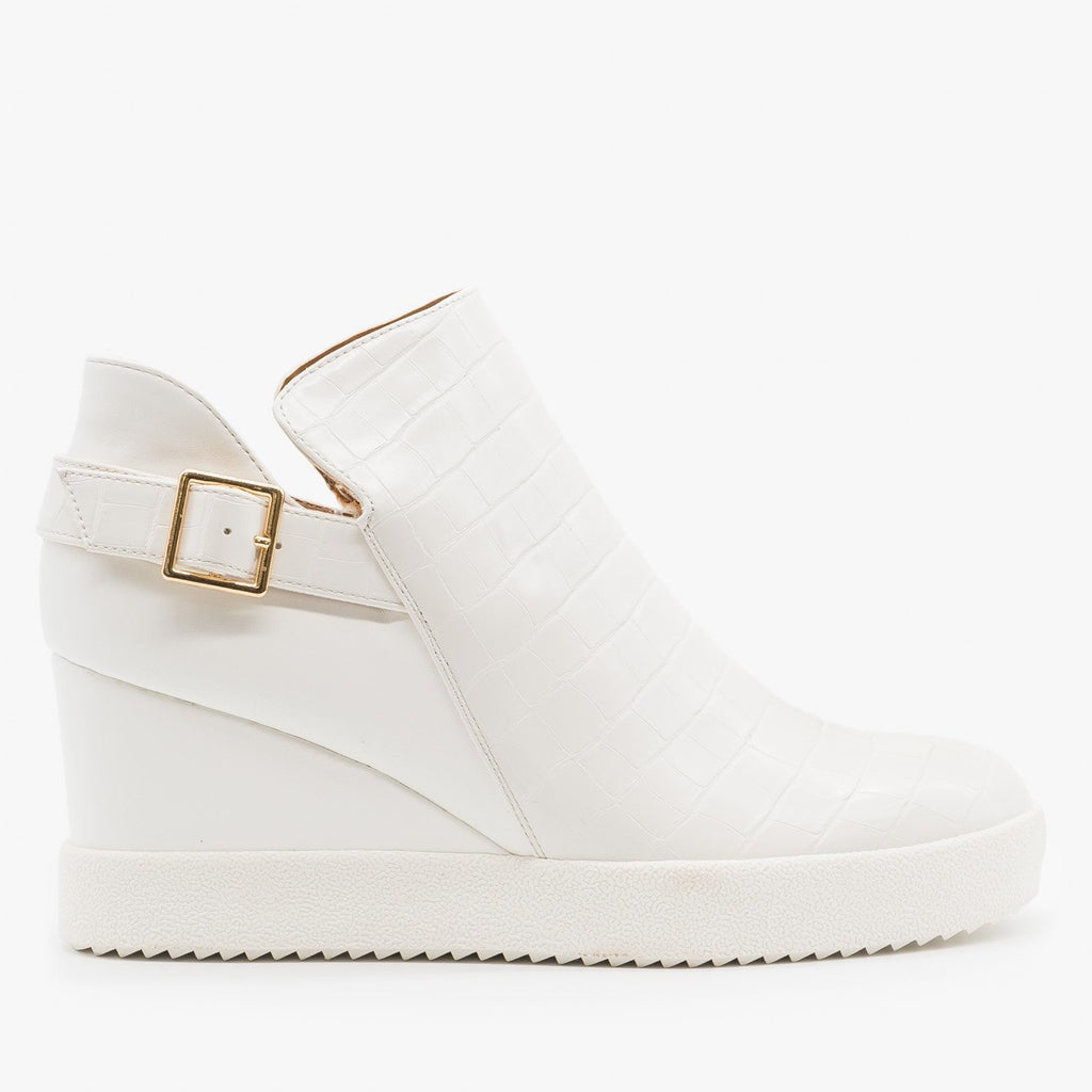 Women's Monochrome Crocodile Sneaker Wedges - Qupid Shoes - White Crocodile / 5