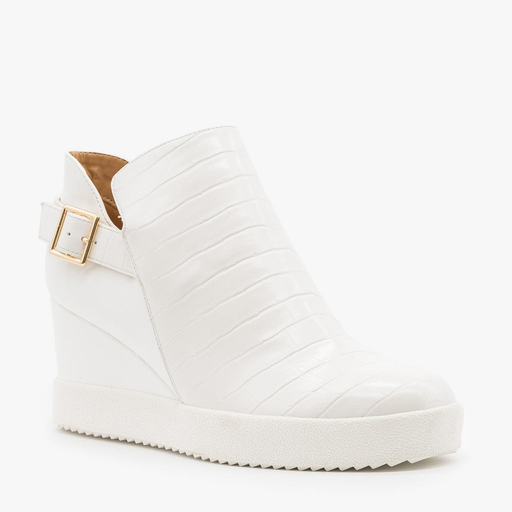 Women's Monochrome Crocodile Sneaker Wedges - Qupid Shoes