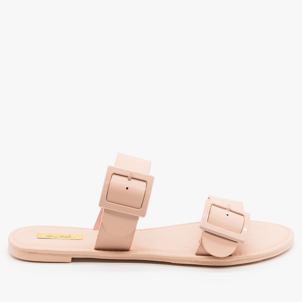 Womens Monochrome Pastel Buckled Sandals - Qupid Shoes - Blush / 5