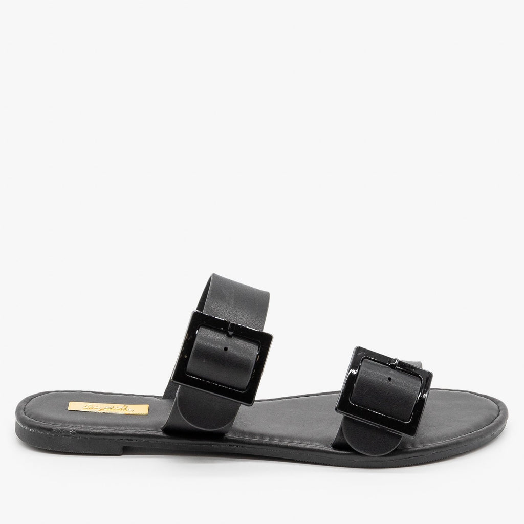 Womens Monochrome Pastel Buckled Sandals - Qupid Shoes - Black / 5