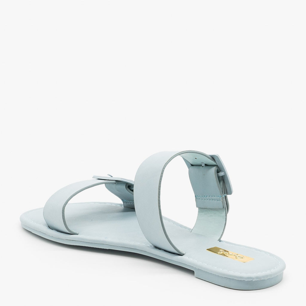 Womens Monochrome Pastel Buckled Sandals - Qupid Shoes