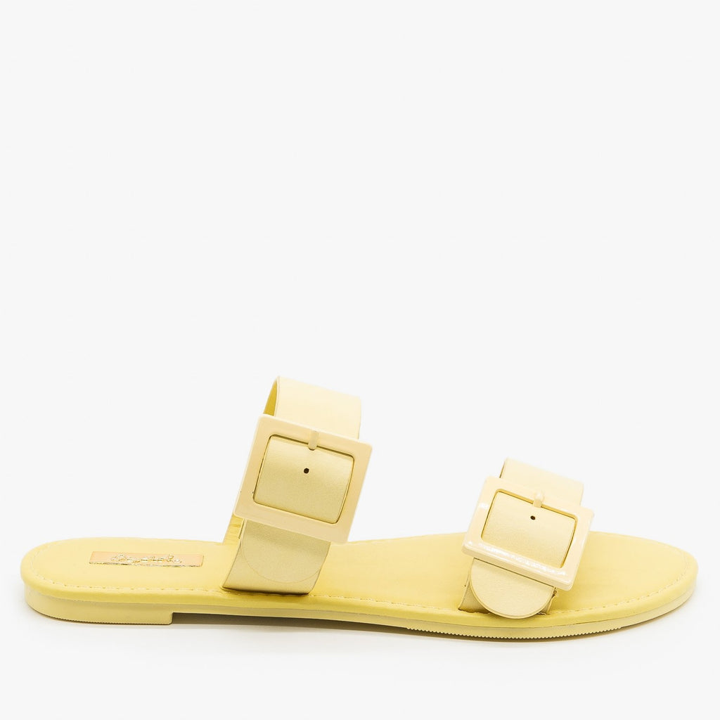Womens Monochrome Pastel Buckled Sandals - Qupid Shoes - Yellow / 5