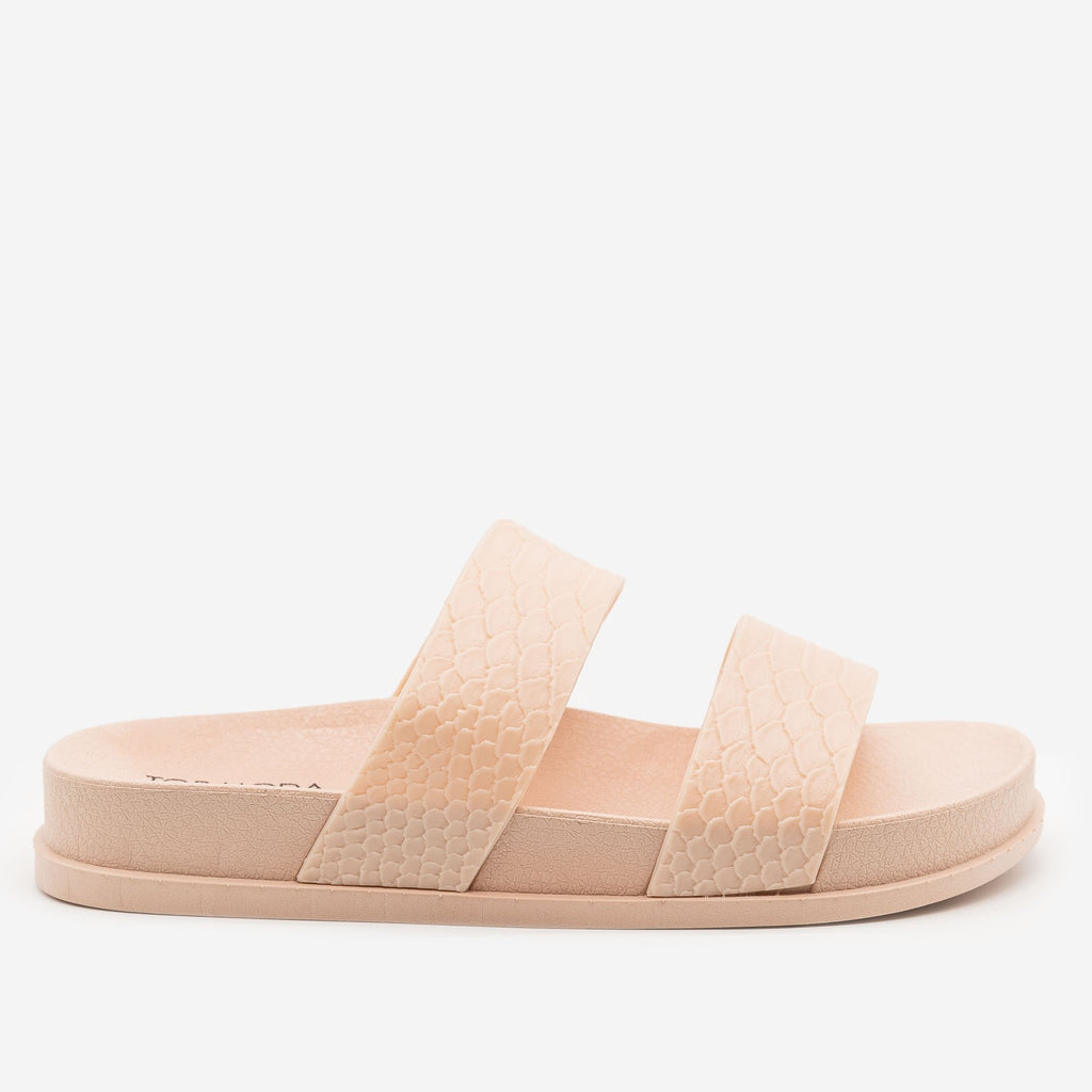 Women's Monochrome Snake Print Slides - Top Moda - Blush / 5