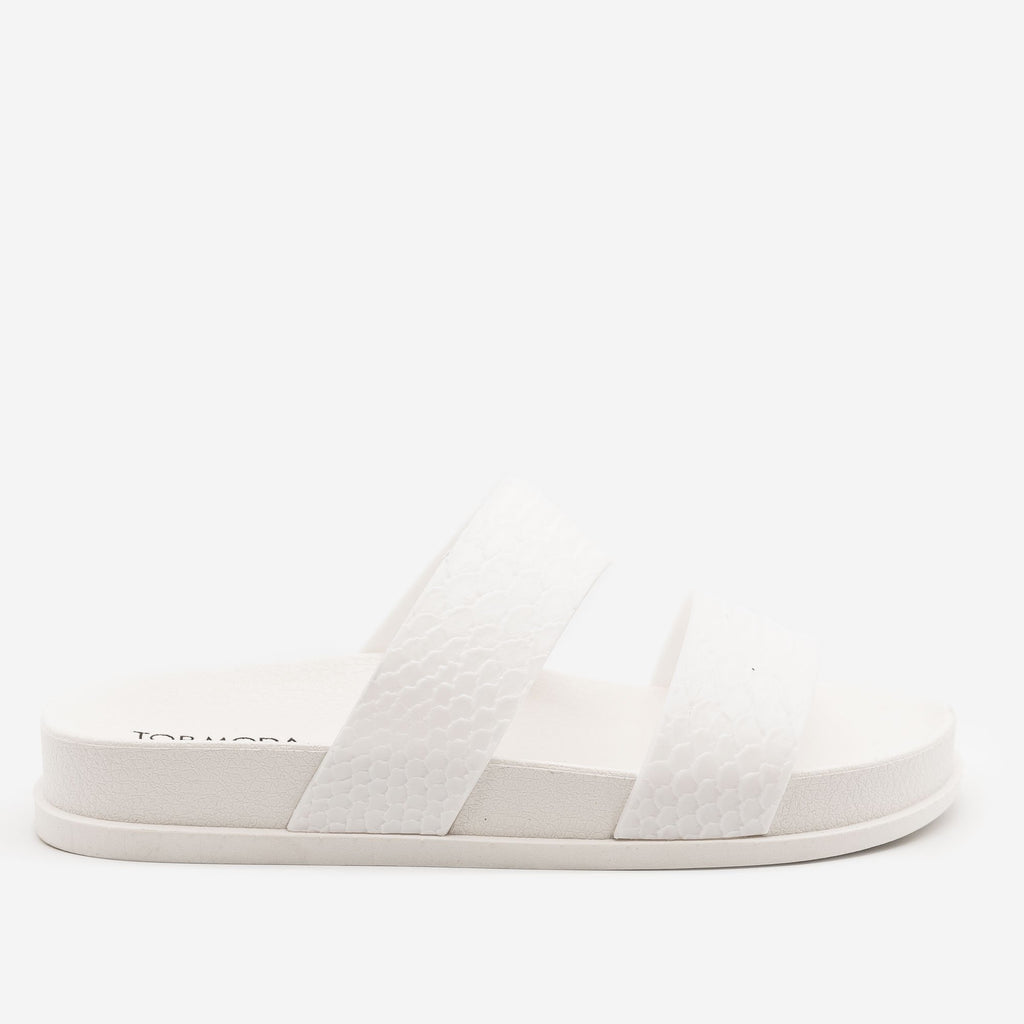 Women's Monochrome Snake Print Slides - Top Moda - White / 5