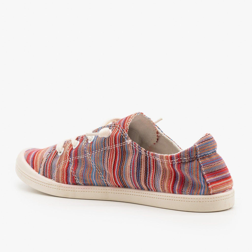 Womens Multi-Color Striped Fashion Sneakers - Forever