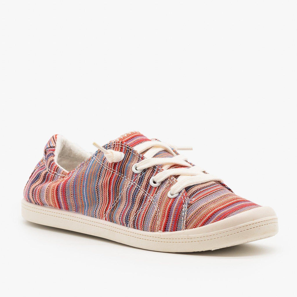 Womens Multi-Color Striped Fashion Sneakers - Forever - Red Multi / 5
