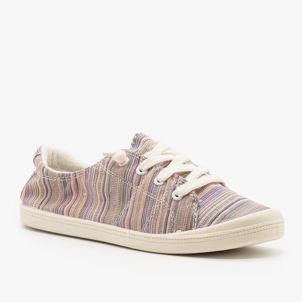 Womens Multi-Color Striped Fashion Sneakers - Forever - Pink Multi / 5