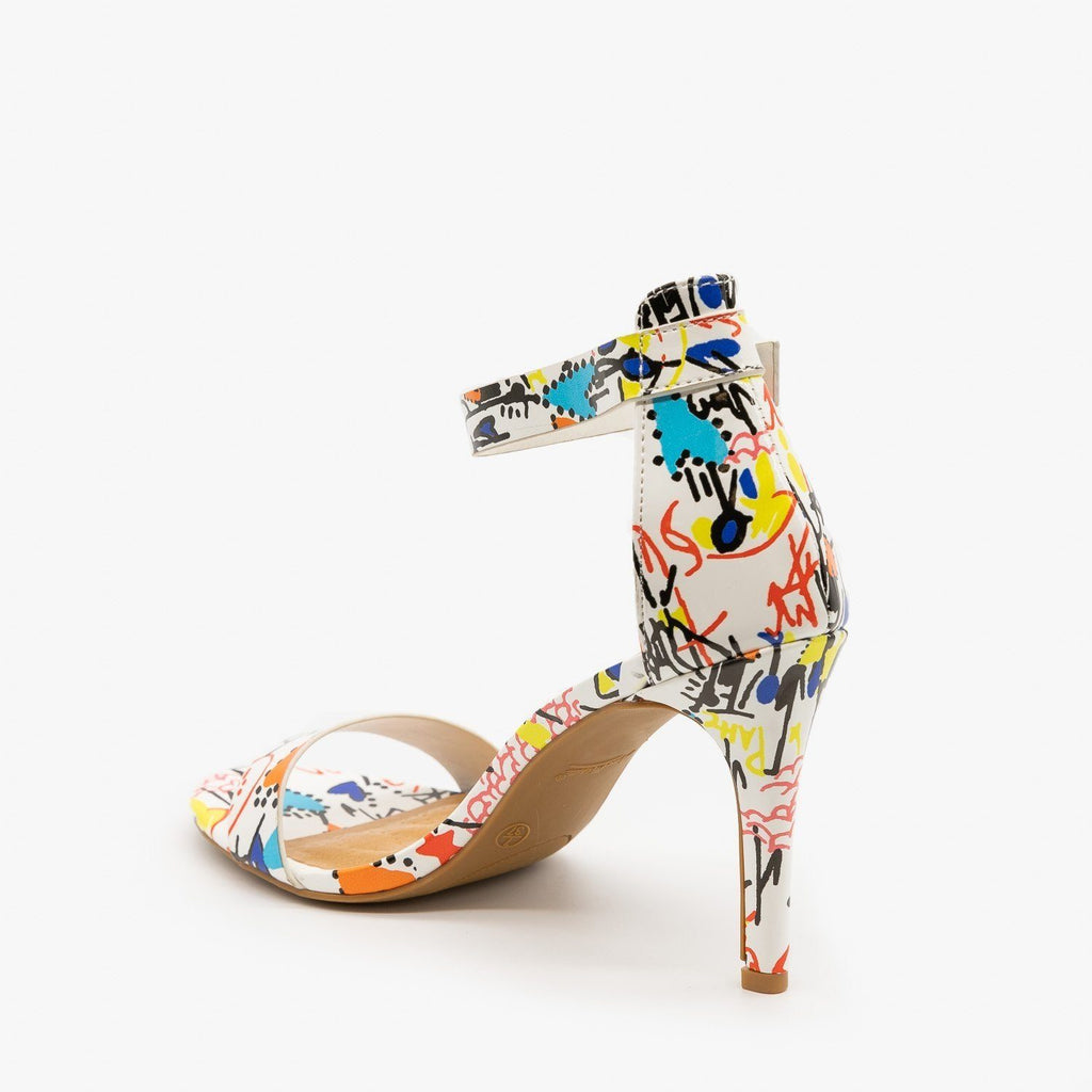 Womens Multi-Print Ankle Strap High Heels - Anne Michelle